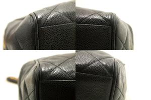 CHANEL Caviar Small Chain Shoulder Bag Black Quilted Zippered j58
