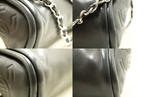 CHANEL Chain Shoulder Bag Black Lambskin Leather Silver Hw Purse m62-Chanel-hannari-shop