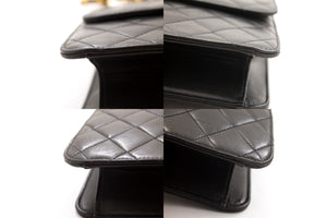 CHANEL Shoulder Bag ჩანთა Clutch შავი Quilted Flap Lambskin ჩანთა t93-hannari-shop