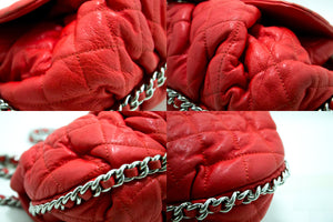 CHANEL Red Chain Around Shoulder Bag Crossbody Quilted Flap Lamb m86