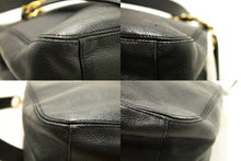 CHANEL Caviar Jumbo Large Chain Shoulder Bag Black Leather Gold n03