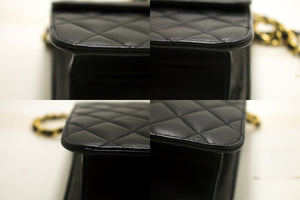 CHANEL Small Chain Shoulder Bag Clutch Black Quilted Flap Lambskin Q61