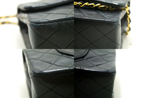 "CHANEL 2.55 Double Flap 10"" Chain Shoulder Bag Black Quilted Lamb s24-Shoulder Bag-hannari-shop"