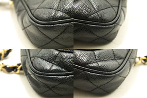 CHANEL Caviar Mini Small Chain One Shoulder Bag Black Quilted L73-Chanel-hannari-shop