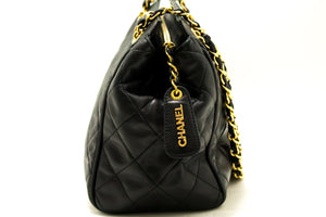 CHANEL Chain Shoulder Bag Black Small Quilted Lambskin Leather f57