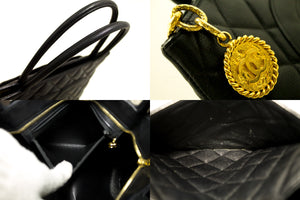 CHANEL Gold Medallion Caviar Shoulder Bag Shopping Tote Black Q02