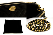 CHANEL Boy Black Caviar Wallet On Chain WOC W Zip Shoulder Bag u08-hannari-shop