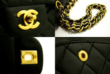 "CHANEL 2.55 Double Flap 9"" Chain Shoulder Bag Black Quilted Lamb R18-Chanel-hannari-shop"