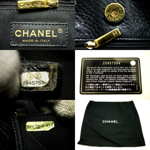 CHANEL Executive Tote 2014 Caviar Shoulder Bag Black Gold Leather j02