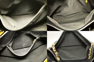 CHANEL Caviar Jumbo Large Chain Shoulder Bag Black Leather Gold k12-Chanel-hannari-shop