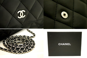 CHANEL Кашалёк з бараніны на ланцугу WOC Чорная сумка на плячо Crossbody k24-Chanel Boutique-hannari-shop