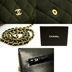 CHANEL Caviar Wallet On Chain WOC Black Shoulder Bag Crossbody L83