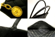 CHANEL Caviar Gold Medallion Shoulder Bag Shopping Tote Black k71