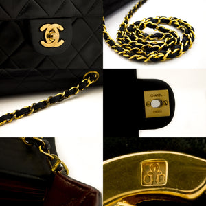 CHANEL Mini Square Small Chain Shoulder Bag Crossbody Black Lamb x13 hannari-shop