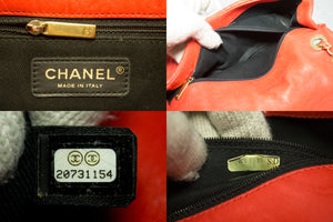 CHANEL Orange 2015 Chevron V-Stitch Chain Shoulder Bag Quilted m92