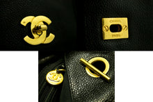 CHANEL Caviar Jumbo Large Chain Shoulder Bag Black Leather Gold g68-Chanel-hannari-shop