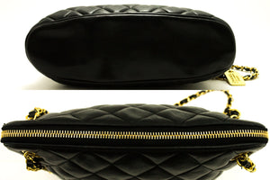 CHANEL Chain Shoulder Bag Black Quilted Zippered Lambskin Leather d20