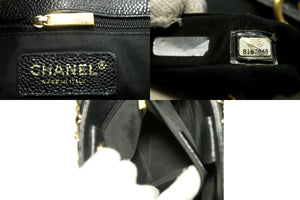 CHANEL Caviar PST Chain Shoulder Bag Shopping Tote Black Quilted Q34-Chanel-hannari-shop