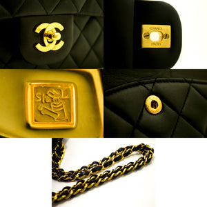 "CHANEL 2.55 Double Flap 10 ""Chain Shoulder Bag Black Quilted Lamb j92-Chanel-hannari-shop"