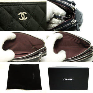 CHANEL Caviar Wallet On Chain WOC W Zip Chain Shoulder Bag Black p20-Chanel-hannari-shop