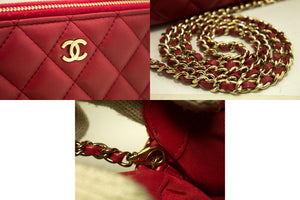 CHANEL Red Wallet On Chain WOC Double Zip Chain Shoulder Bag m84