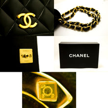 CHANEL Chain Shoulder Bag Clutch Black Quilted Flap Lambskin Q71