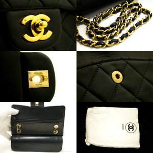 "CHANEL 2.55 Double Flap 9"" Chain Shoulder Bag Black Quilted Lamb R15-Chanel-hannari-shop"