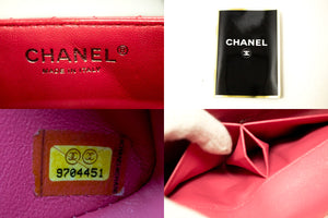 CHANEL Caviar Chain Shoulder Bag Pink Quilted Flap Leather Silver k55-Chanel Boutique-hannari-shop