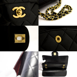 "CHANEL 2.55 Double Flap 9"" Chain Shoulder Bag Black Lambskin Purse x51 hannari-shop"