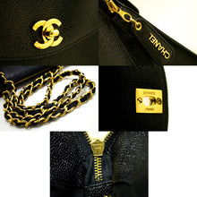 CHANEL Caviar Large Chain Shoulder Bag Black Leather Gold Zip MINT n24