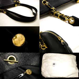 CHANEL Caviar Jumbo Large Chain Shoulder Bag Black Gold Zipper R84-hannari-shop