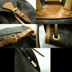 Louis Vuitton Montsouris MM Monogram Backpack Bag Canvas Leather n62
