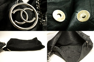 CHANEL Coco Cabas GM Caviar Large Chain Shoulder Bag Black Leather k18-Chanel-hannari-shop