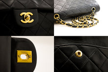 "CHANEL 2.55 Double Flap 10"" Chain Shoulder Bag Black Lambskin b93 hannari-shop"
