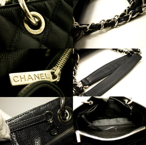 "CHANEL Caviar GST 13 ""Grand Shopping Tote Chain Shoulder Bag Black k53-Chanel Boutique-hannari-shop"