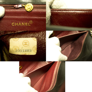 CHANEL Diana Flap Chain Shoulder Bag Crossbody Black Quilted Lamb Q57-Chanel-hannari-shop