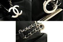 CHANEL Chain Shoulder Bag Black Quilted Calfskin Leather Silver j42