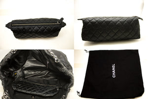 CHANEL Coco Cabas Calfskin Chain Shoulder Bag Black Quilted SV n41