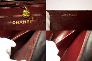 "CHANEL Jumbo 13 ""Maxi 2.55 Flap Chain Bag Shoulder Pelle di Agnello Nera t51-hannari-shop"