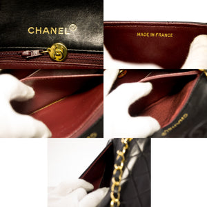 CHANEL Mini Square Small Chain Shoulder Bag Crossbody Black Lamb u01-hannari-shop