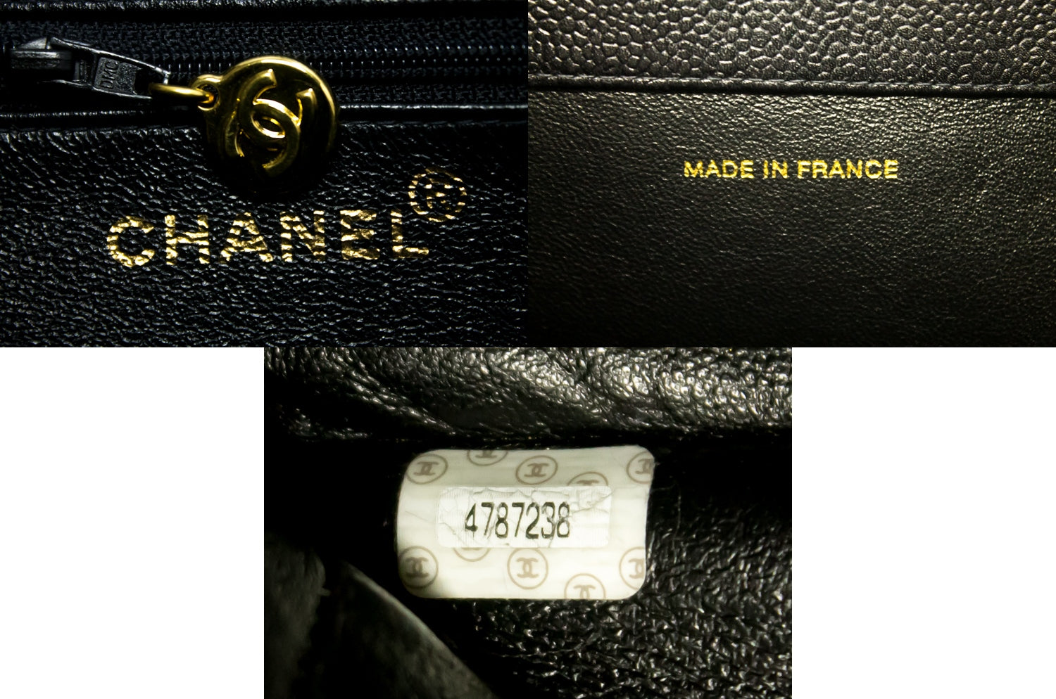 e081514e395e CHANEL Caviar Jumbo Chain Shoulder Bag Black Leather Large Big k22-Chanel- hannari- ...