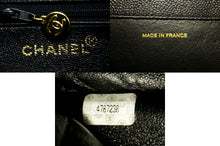 CHANEL Caviar Jumbo Chain Shoulder Bag Black Leather Large Big k22-Chanel-hannari-shop