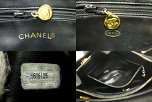 CHANEL Caviar Large Chain Shoulder Bag Black Leather Gold Zipper n05