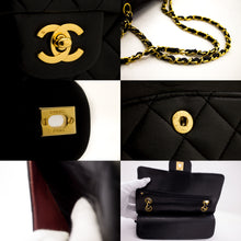 "CHANEL 2.55 Double Flap 9"" Chain Shoulder Bag Black Lambskin Purse u26-hannari-shop"