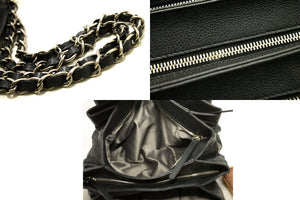 CHANEL Caviar Accordion Chain Shoulder Bag Black Quilted Leather p35-Chanel-hannari-shop