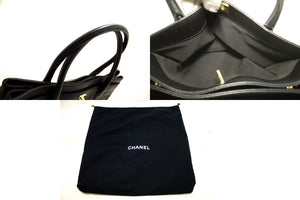 CHANEL Executive Tote Caviar Shoulder Bag Handbag Black Gold Q77