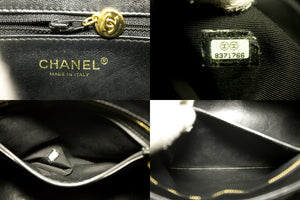 CHANEL Gold Medallion Caviar Shoulder Bag Shopping Tote Black n49-Chanel-hannari-shop