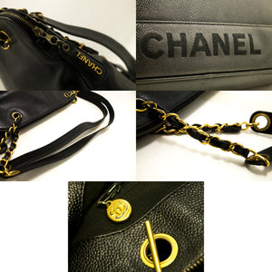 CHANEL Caviar Chain Shoulder Bag Black Logo Gold Zipper Leather L35-Chanel-hannari-shop