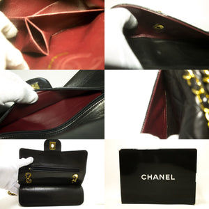 "CHANEL 2.55 Double Flap 9"" Chain Shoulder Bag Black Lambskin R88-Shoulder Bag-hannari-shop"