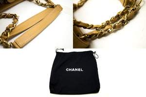 CHANEL Caviar Chain Shoulder Bag Shopping Tote Beige Quilted k29-Chanel-hannari-shop